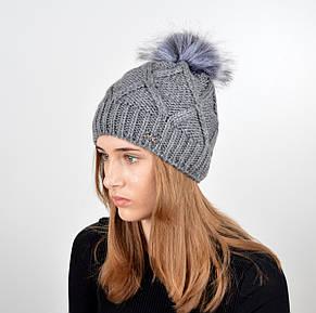 """Вязаная женская шапка """"Lalli"""" с меховым помпоном, фото 2"""