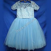 """Детское нарядное платье на 6-7 лет """"Восторг"""" (голубое) , фото 1"""