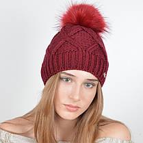 """Вязаная женская шапка """"Lalli"""" с меховым помпоном, фото 3"""