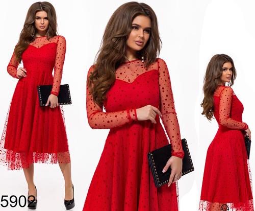 f261ac7d4e46717 Купить Вечернее платье рукава из сетки красный 825902 Украина ...
