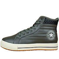 Кеды мужские Converse High - высокие (зеленые-хаки) зимние, на МЕХу! Top replic