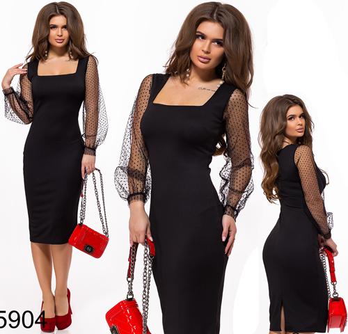 01d9c1755e0 Купить Черное вечернее платье по фигуре с рукавом сетка 825904 ...