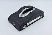 Салфетница Mazda кожаная в автомобиль с логотипом и местом для номера телефона Black Мазда подарочная салфетница