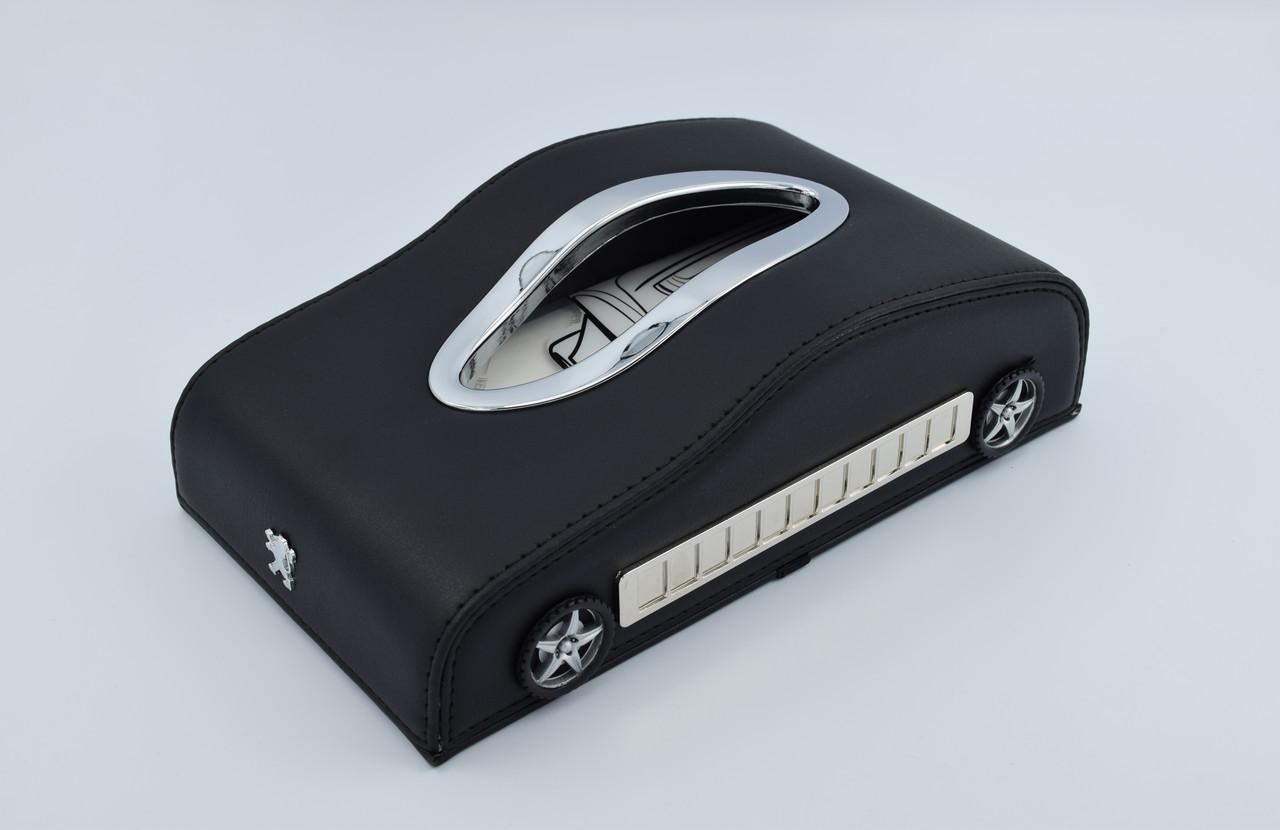 Салфетница Peugeot кожаная в автомобиль с логотипом и местом для номера телефона Black Пежо подарочная салфетница