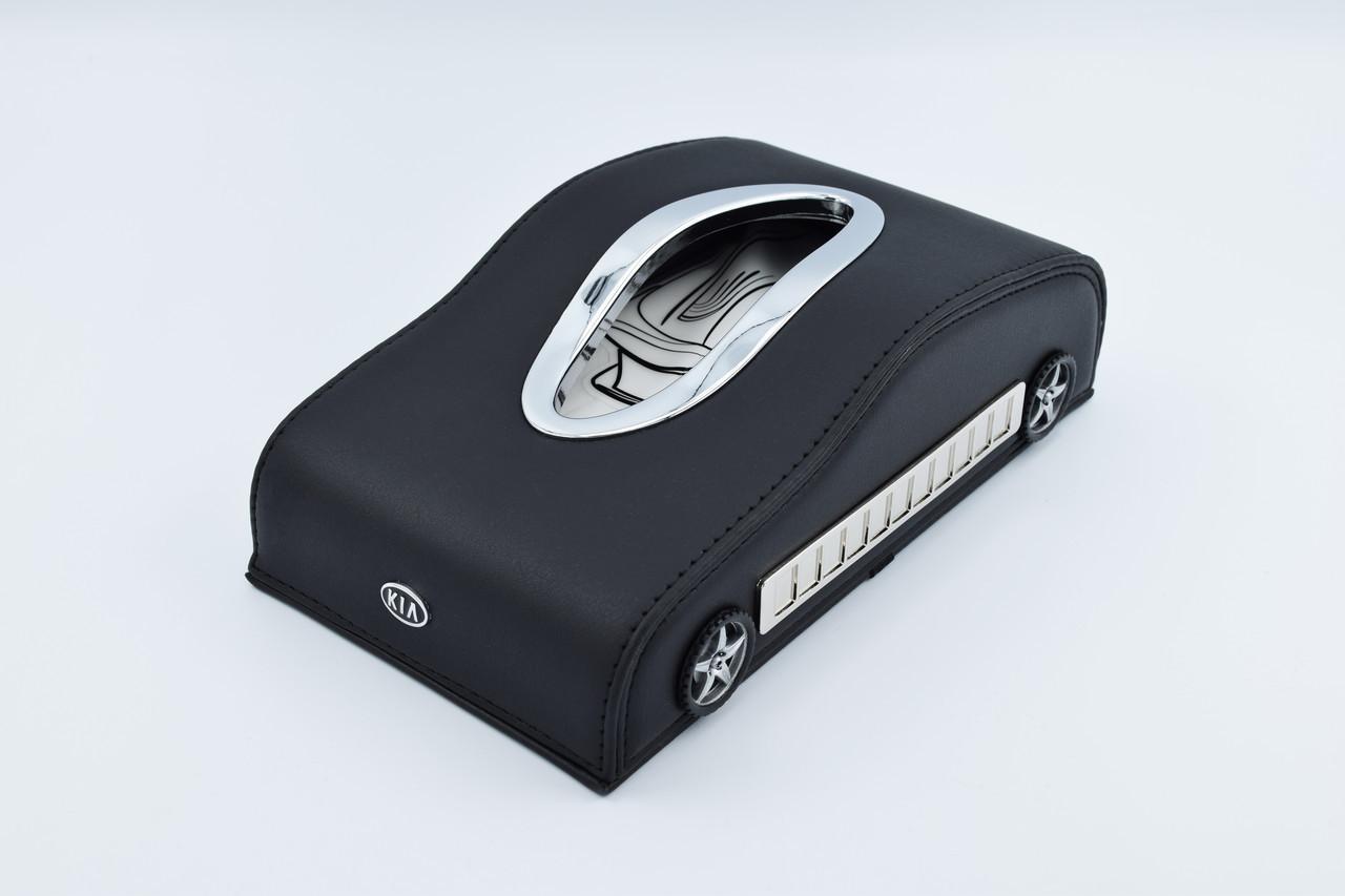 Підставка для серветок KIA шкіряна в автомобіль з логотипом і місцем для номера телефону Black КІА подарункова