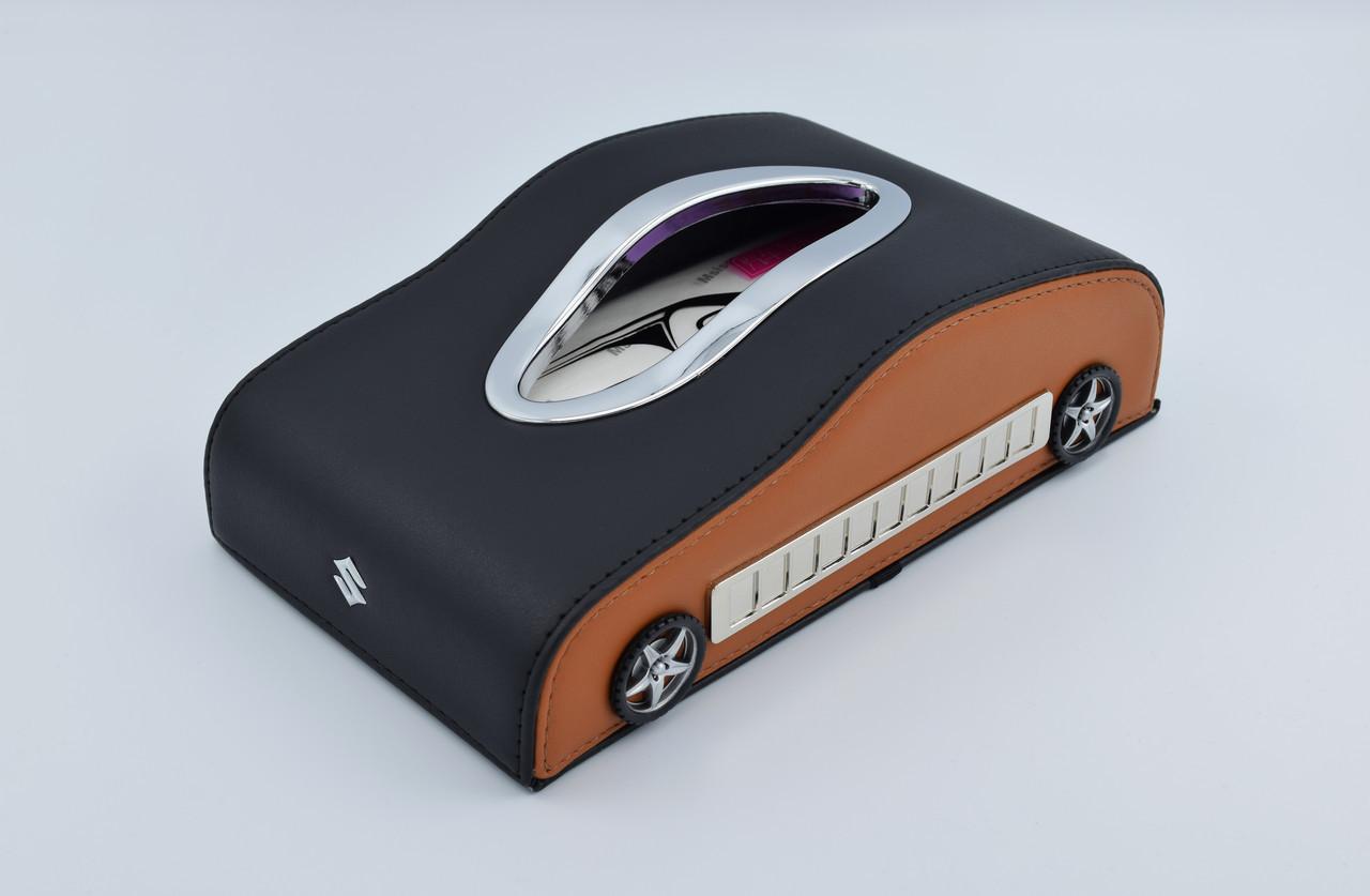 Салфетница Suzuki кожаная в автомобиль с логотипом и местом для номера телефона Brown Suzuki подарочная салфетница