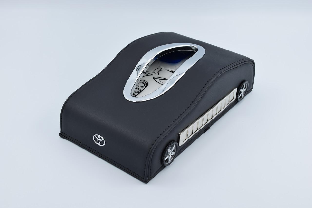 Салфетница Toyota кожаная в автомобиль с логотипом и местом для номера телефона Black Toyota подарочная салфетница