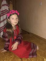 Красное платье макси с вышивкой для девочек