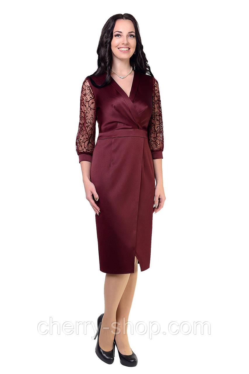 Ошатне елегантне бордове плаття жіноче
