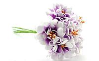Цветы хризантемы (астры) 6 шт. 3-3,5 см диаметр бело-фиолетового цвета, фото 1