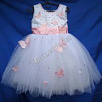 Детское платье бальное 3-4 г. С бабочками (гбелый+розовый) , фото 1