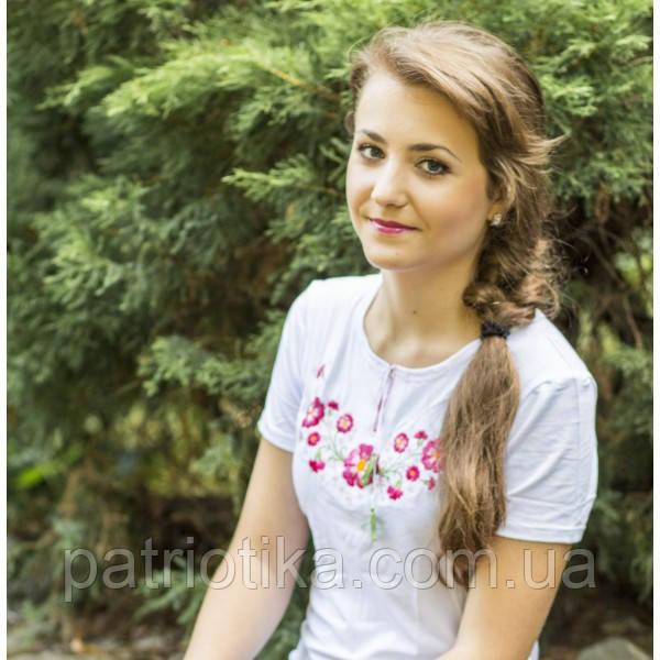 Женская футболка вышиванка фиалки | Жіноча футболка вишиванка фіалки