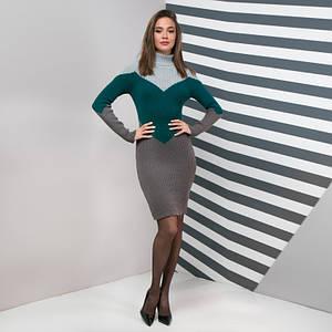 Теплое повседневное вязаное платье Эльза серый, изумруд, графит