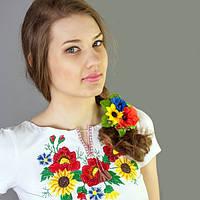 Женская футболка вышиванка большие подсолнухи   Жіноча футболка вишиванка великі соняшники