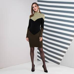 Теплое повседневное вязаное платье Эльза олива светлая, черный, олива