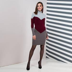 Теплое повседневное вязаное платье Эльза серый, марсала, графит
