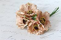 Декоративные цветы (маки) диаметр 5 см, 6 шт/уп. кофейного цвета, фото 1