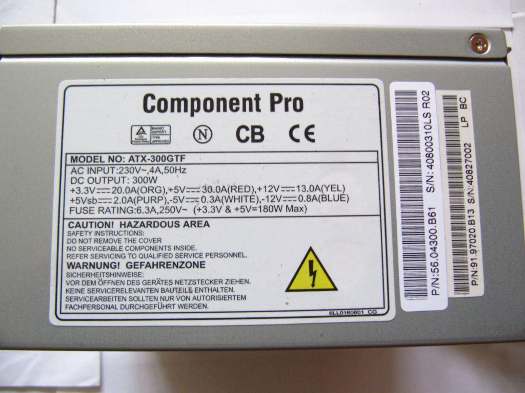 Блок питания Component Pro ATX-300GTF (300W)