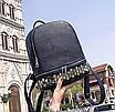 Рюкзак женский кожзам однотонный с заклепками Синий, фото 5