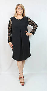 Черное вечернее женское платье с кружевными рукавами