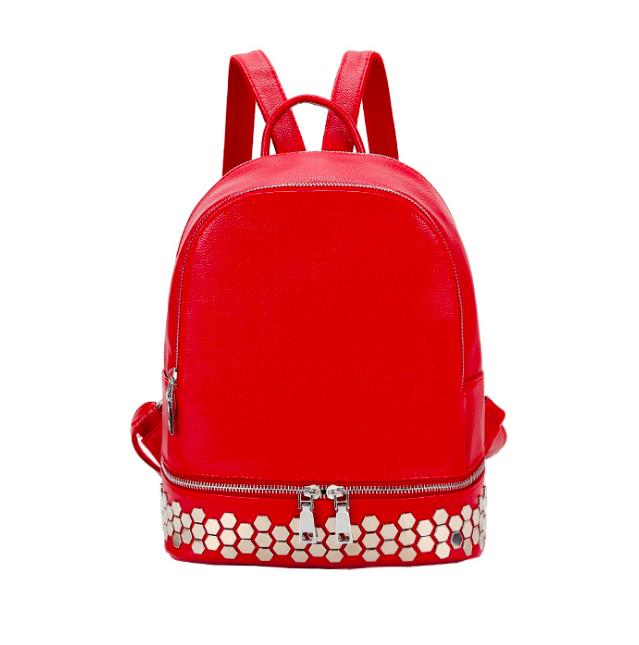 Рюкзак женский кожзам однотонный с заклепками Красный