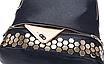 Рюкзак женский кожзам с заклепками однотонный Черный, фото 5