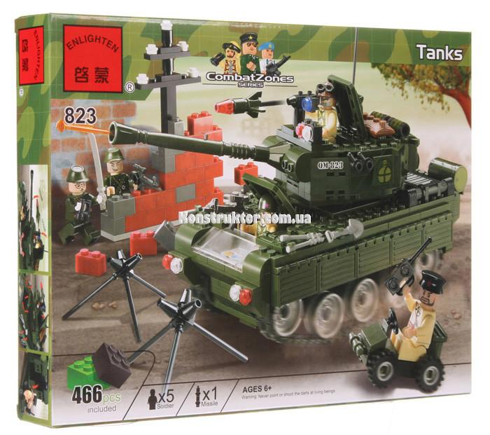 Конструктор Brick 823 «Военный танк», 466 деталей.