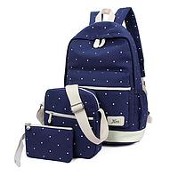 Рюкзак женский городской в горошек набор Werring Синий, фото 1