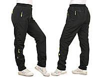 Женские спортивные брюки из плащевки на флисе №1525 (р.42-56) \ черный