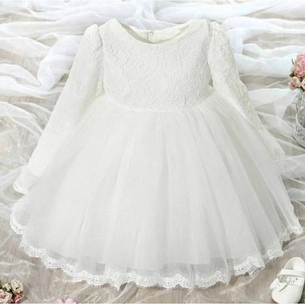 Платье нарядное детское  на девочку с бантом белое, фото 2