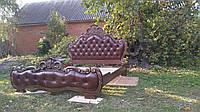 Резная кровать, Деревянная кровать, Каретная стяжка, Спальня, Мебель в спальню