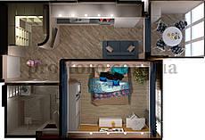 ЖК На Прорезной Планировка 1-комнатной квартиры 42.59 м2 тип 1Б/1В