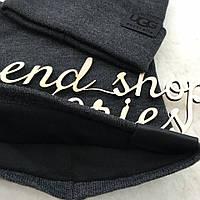 Комплект UGG на флиссе шапка+бафф модель унисекс тёмно серый