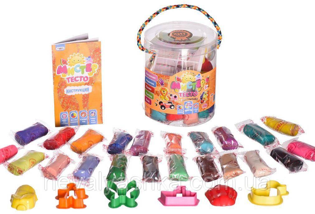 Набор для лепки Тесто 22 цвета с блестками Мистер тесто Тісто для ліпки Стратег Strateg, 71103 009835