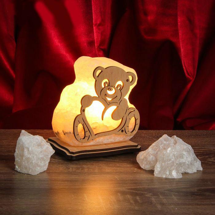 Соляной светильник Влюбленный мишка маленький