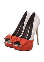 Туфли Geronea 36 белый, оранжевый (NO-K002-06D-B_White-orange)