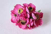 Декоративные цветы дикого мака диаметр 4.5-5 см, 72 шт/уп, темно-малинового цвета оптом
