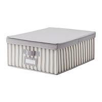 SVIRA  Коробка с крышкой, серый, белый полоска, фото 1