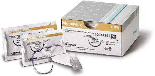 Матеріал шовний хірургічний, що розсмоктується MONOMAX фіолетовий, розмір USP 0 (3,5) довжина 150см голка HR37, фото 2