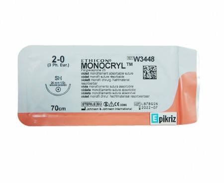 Хірургічний шовний матеріал Монокрил 2-0, кількість 26 мм, 70 см W3448, фото 2