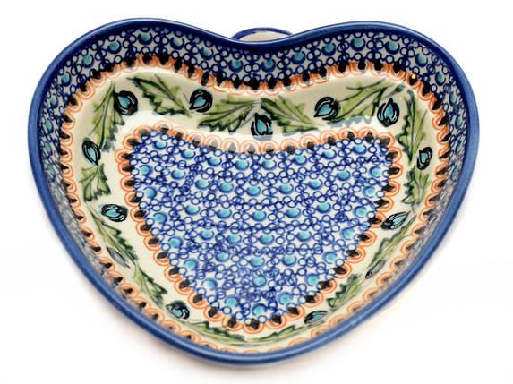 Сердце керамическая форма средняя Бутоны. Лазурный, фото 2