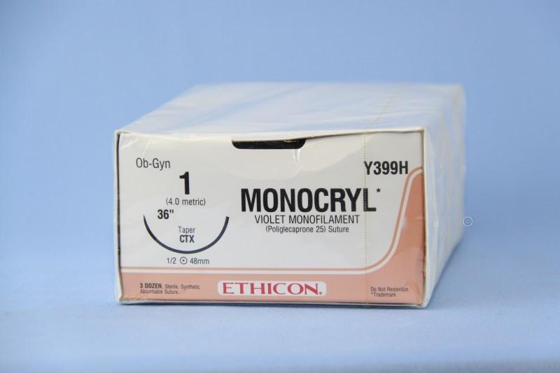 Хірургічний шовний матеріал Монокрил 1-0 кол. 36мм 1/2, 70 см, W3457