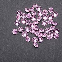 Кристаллы для украшения витрины розовые d-7мм фас. 50шт.