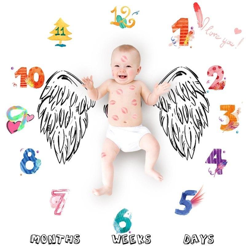Пелёнка для фотосессий для новорождённого по месяцам 09
