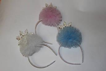 Новогодний обруч корона Снежинка фатин Белая. розовая, голубая