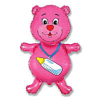 Фольгированный шар фигура Мишка с соской розовый 901648 Flexmetal
