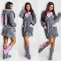 Жіночий халат з вушками+махрові чобітки