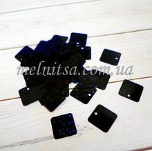 Пайетки квадратные, 1,2 см, цвет черный голограмма ,  3 г (около 45 шт.)