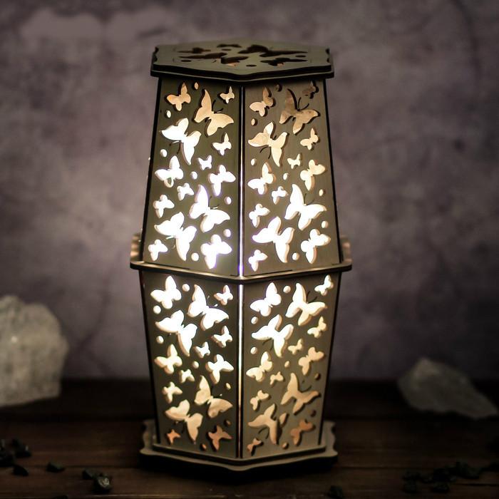 Соляной светильник деревянный  с кристаллами соли
