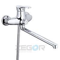 Смеситель для ванны Zegor NPO (NPO-A071) однорычажный с душем с длинным изливом цвет хром